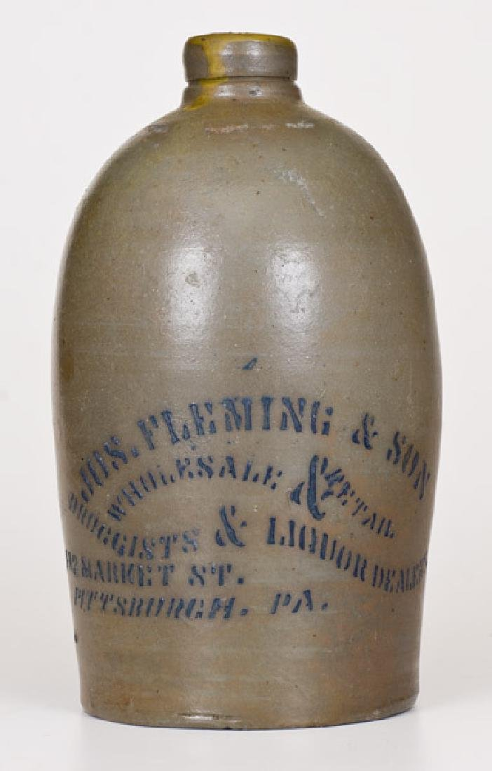 1/2 Gal. Stoneware Jug with Stenciled Pittsburgh, PA