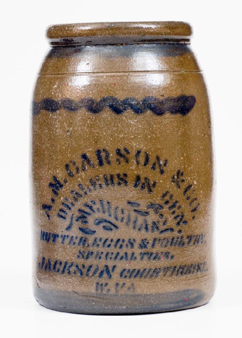 Very Unusual JACKSON COURTHOUSE, W.VA Stoneware Jar w/