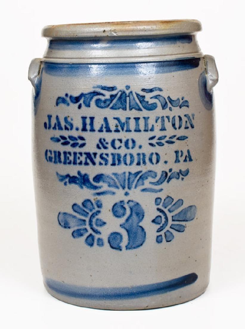 Fine Three-Gallon JAS. HAMILTON / & CO. / GREENSBORO.