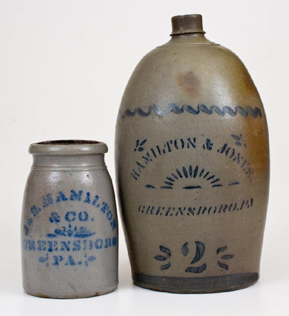 Lot of Two: HAMILTON & JONES / GREENSBORO, PA Jug, JAS.