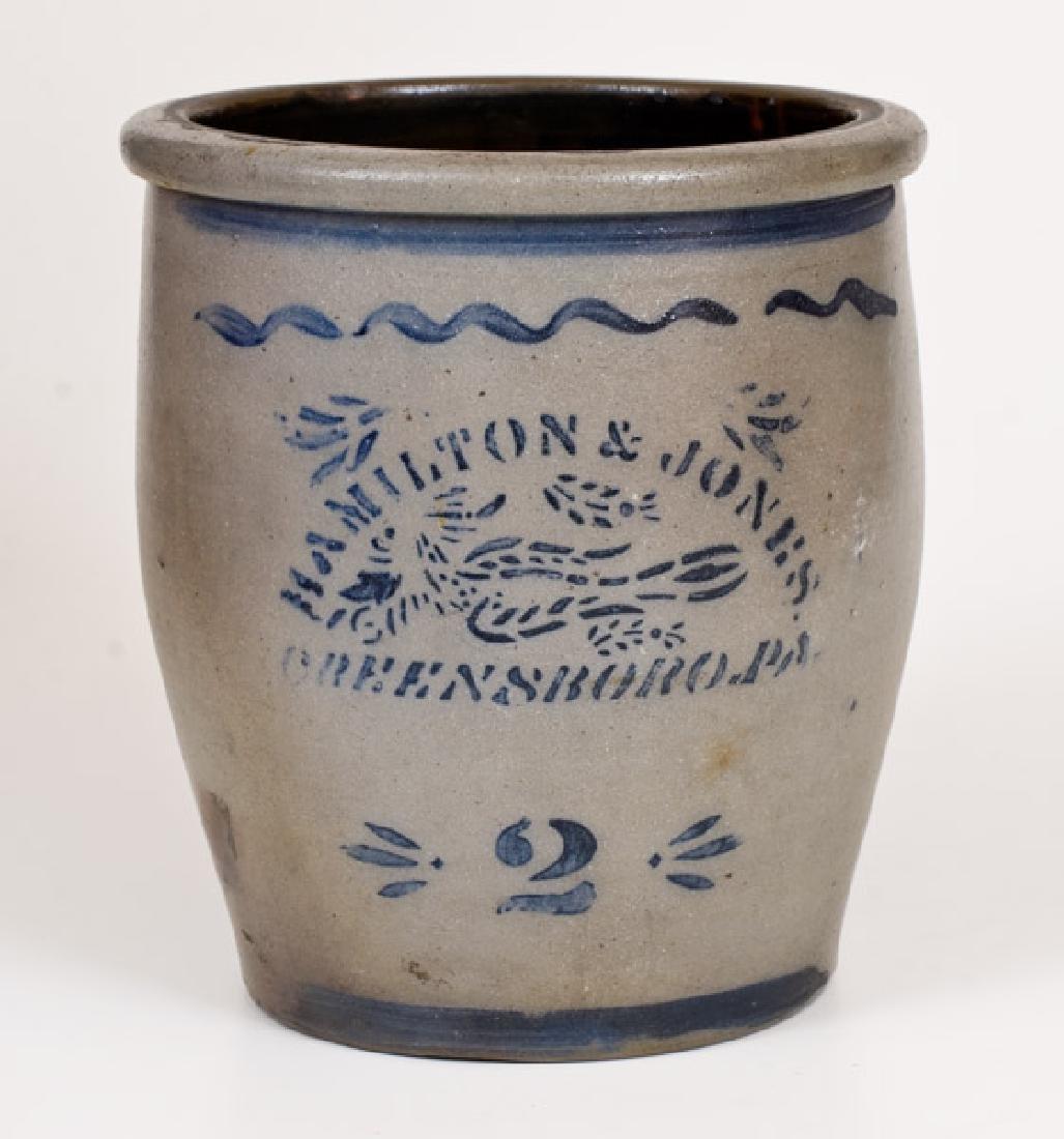 HAMILTON & JONES / GREENSBORO, PA Stoneware Cream Jar