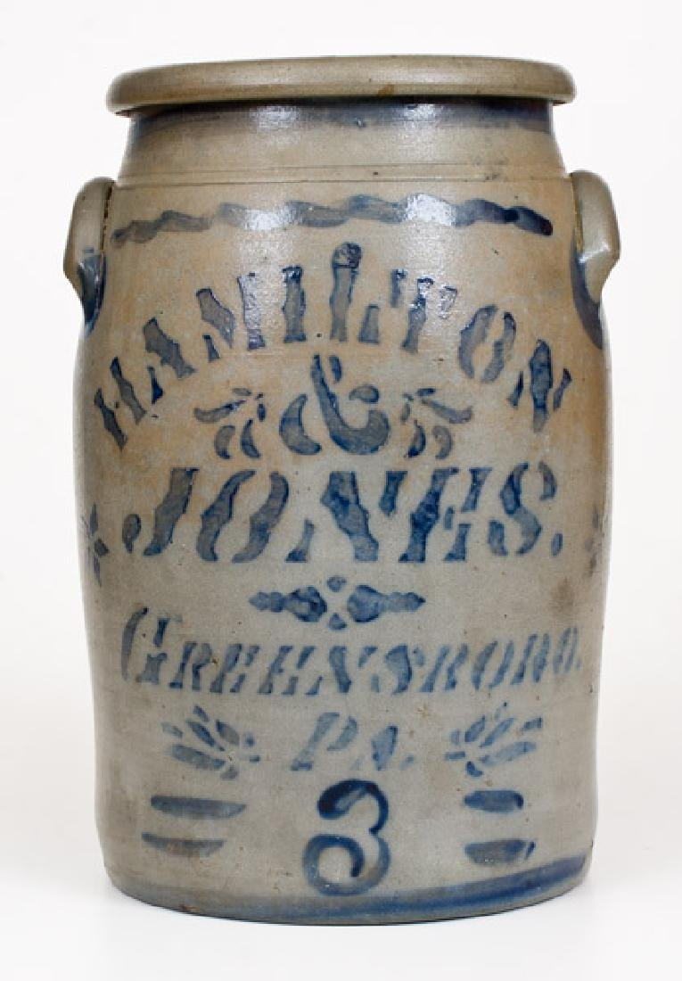 3 Gal. HAMILTON & JONES / GREENSBORO, PA Stoneware Jar