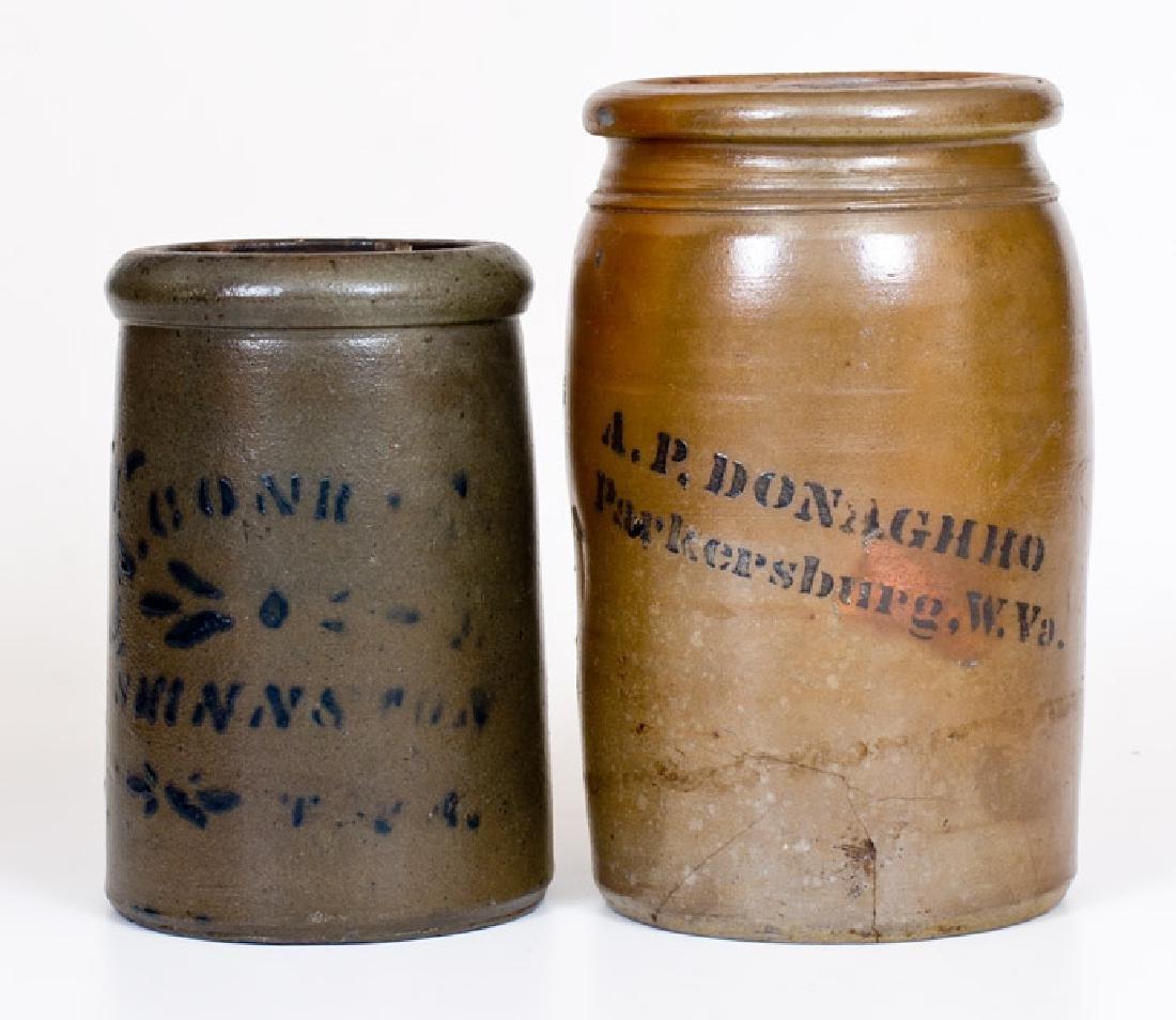 Two West Virginia Cobalt-Decorated Stoneware Jars,