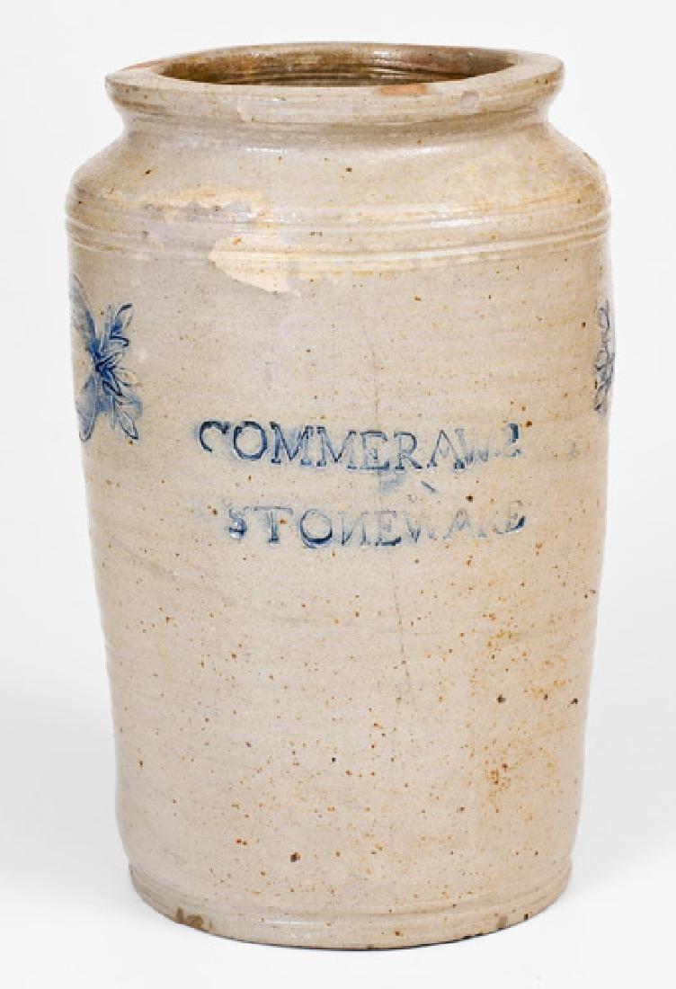 Unusual COMMERAWS / STONEWARE Jar, New York City, early