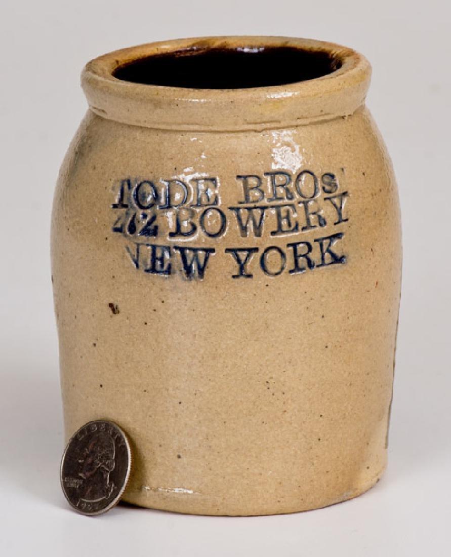 Rare Tode Bros, Bowery, NY Stoneware Caviar Jar w/