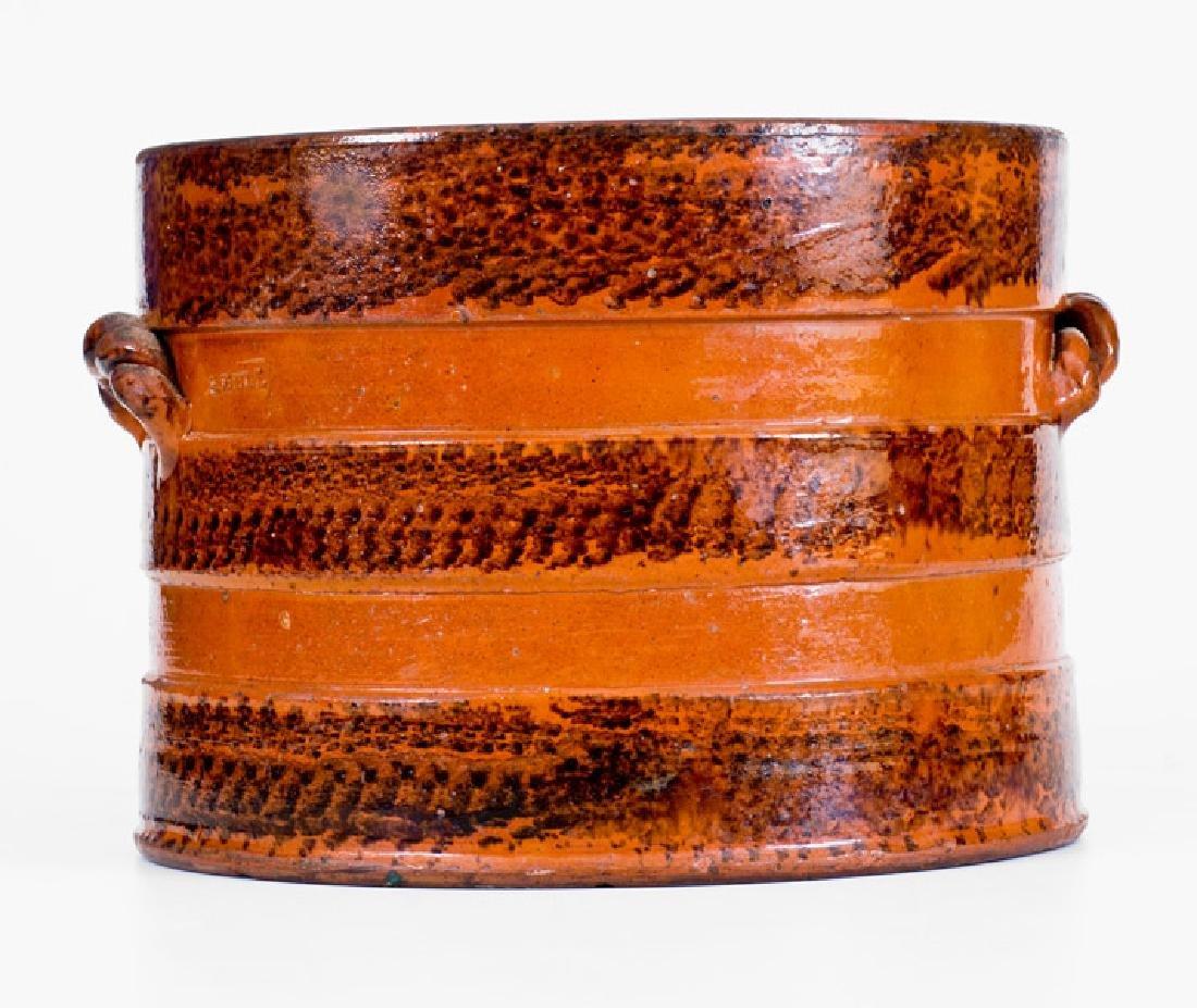 I. BELL Rope-Handled Redware Butter Crock, John Bell,