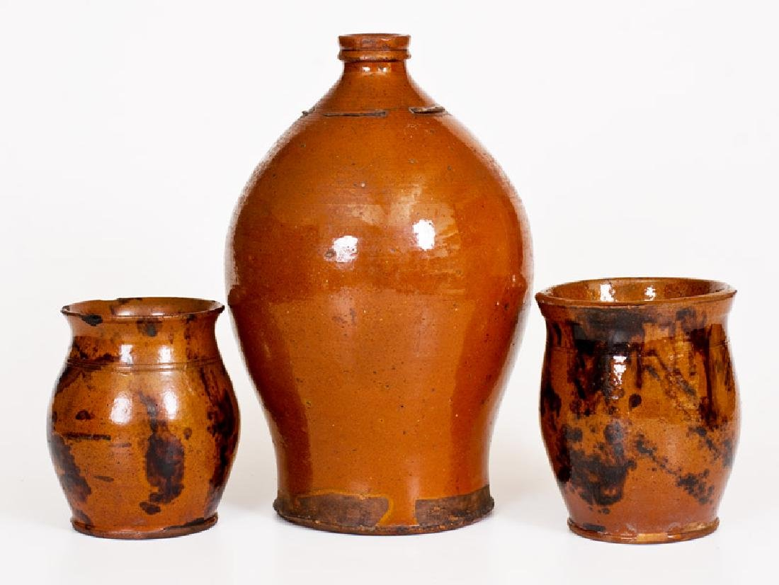 Three Pieces of Glazed Antique American Redware