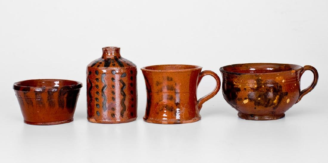 Lot of Four: Small-Sized Redware Vessels with Manganese