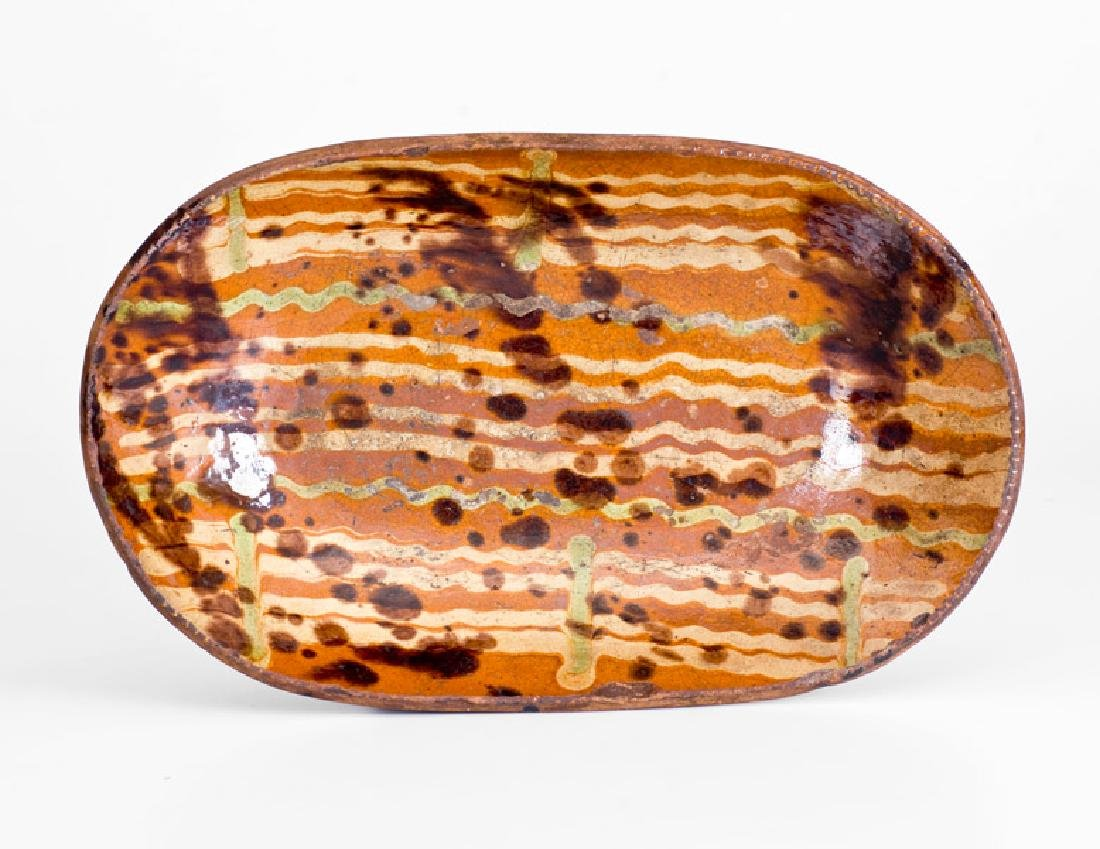 Very Fine Small-Sized Redware Loaf Dish with
