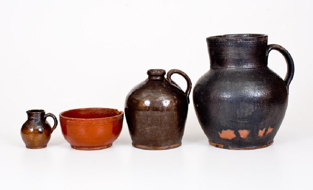 Lot of Four: Glazed Redware Tables Vessels, Singer