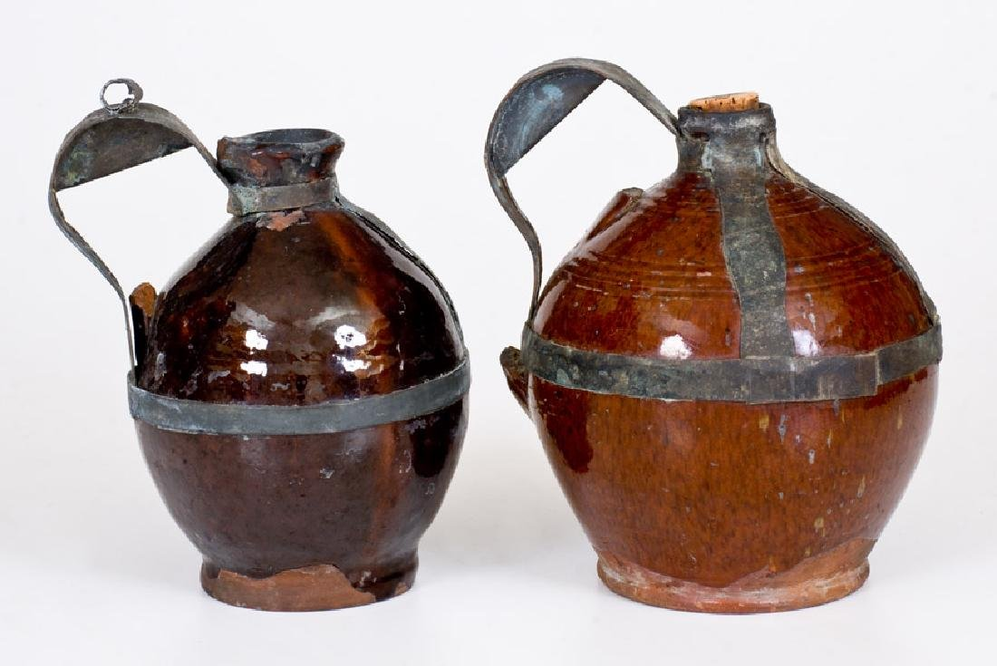 Two 19th Century American Redware Jugs with Tin Make-Do