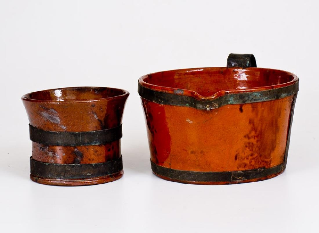 Two Glazed 19th Century Redware Articles with Tin