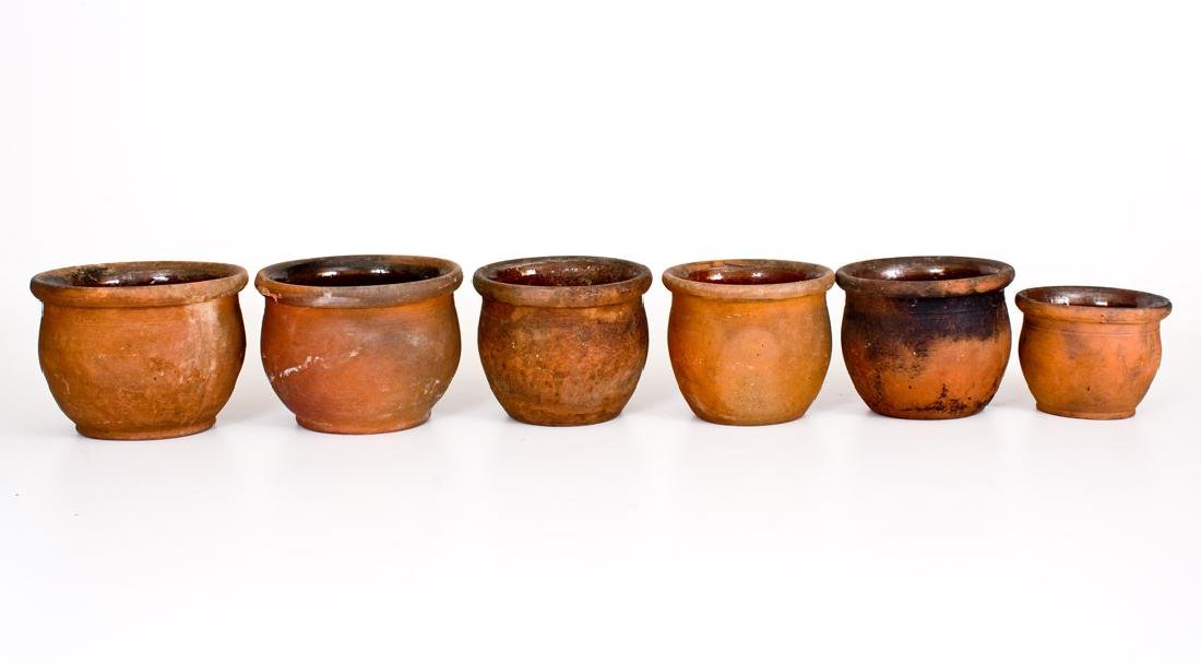 Lot of Six: Small Redware Cream Jars, Singer Pottery,