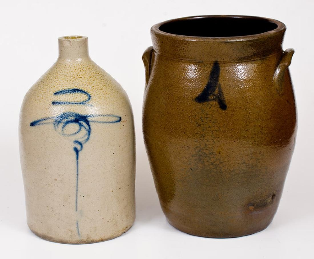 Lot of Two: 2 Gal. Midwestern Stoneware Jug and 4 Gal.
