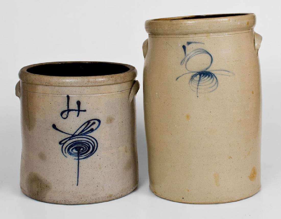 Lot of Two: Midwestern Stoneware: 4 Gal. Crock and 5