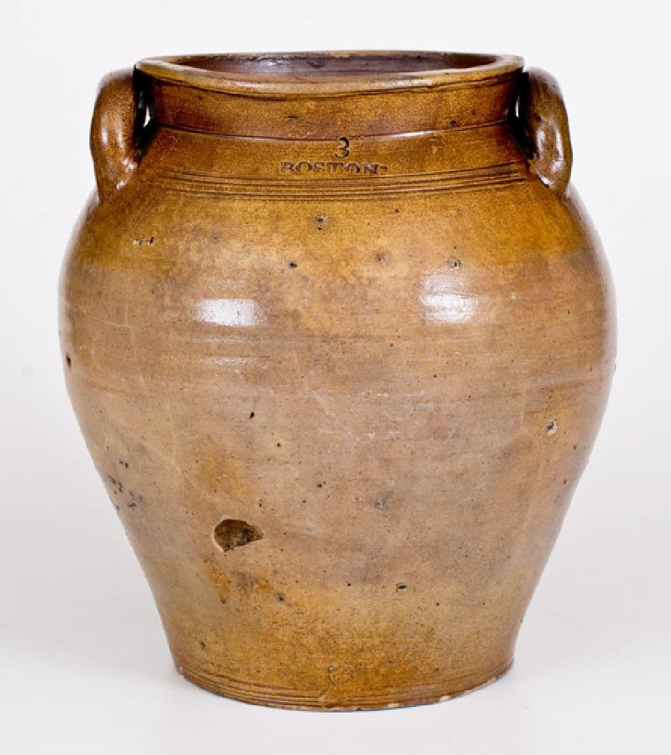 Early BOSTON Stoneware Jar w/ Iron-Oxide Decoration,