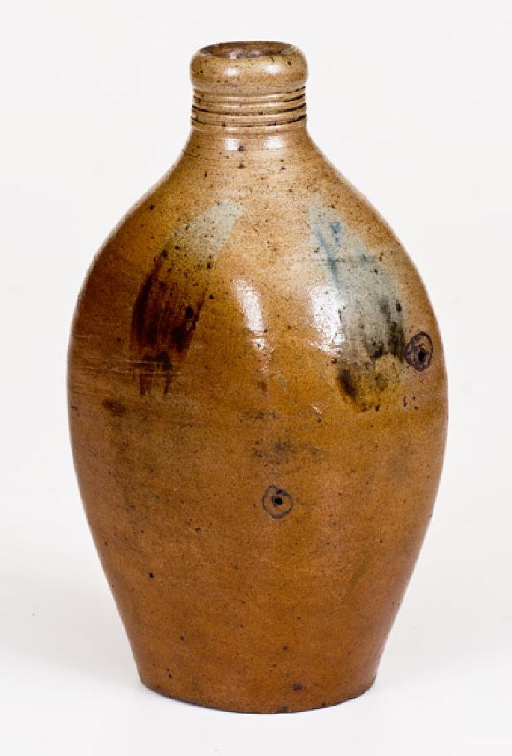 Early Cobalt-Decorated Stoneware Flask, probably New