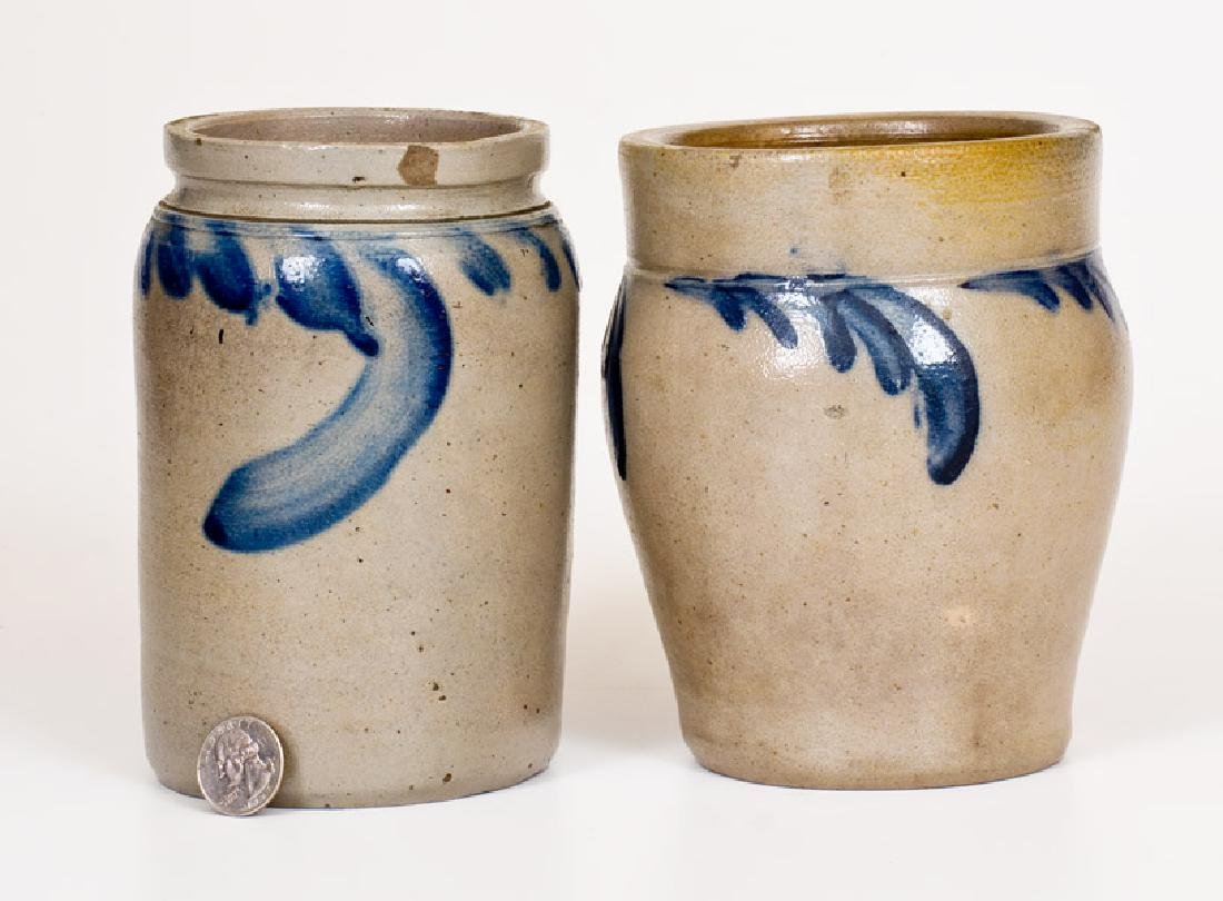 Two Small-Sized Stoneware Jars with Cobalt Decoration,