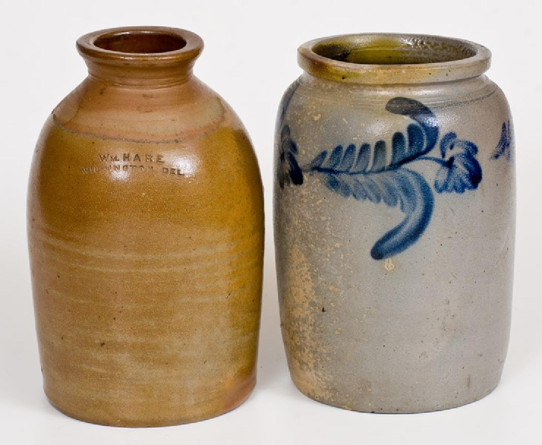 Lot of Two: 1 Gal. Stoneware Jars: WM. HARE /