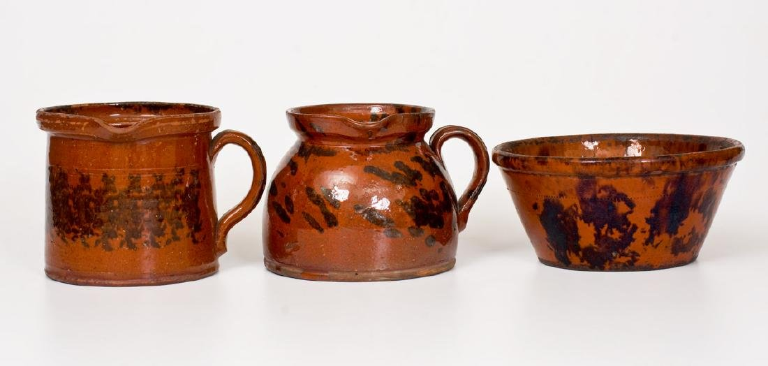 Lot of Three: Manganese-Decorated American Redware