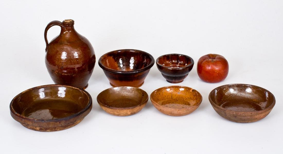 Lot of Eight: Assorted Redware Articles incl. Apple
