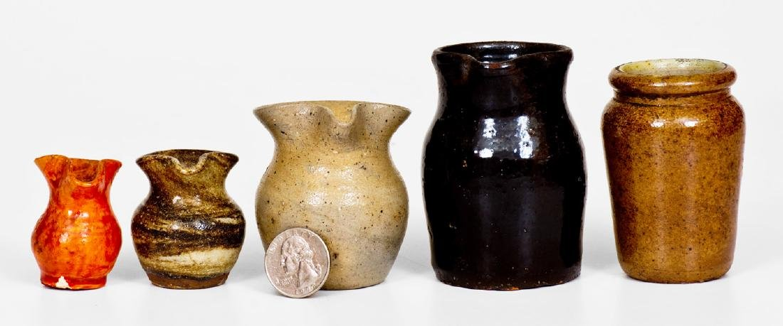 Lot of Five: Small-Sized Stoneware and Redware incl.