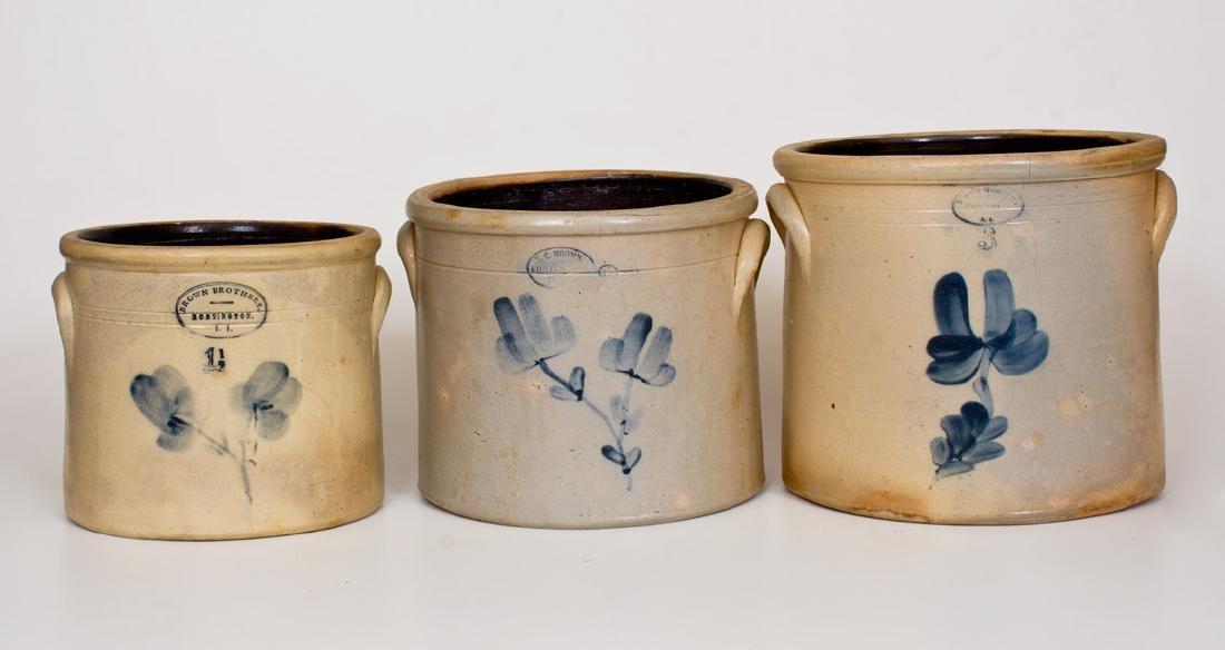 Lot of Three: HUNTINGTON, Long Island Stoneware Crocks