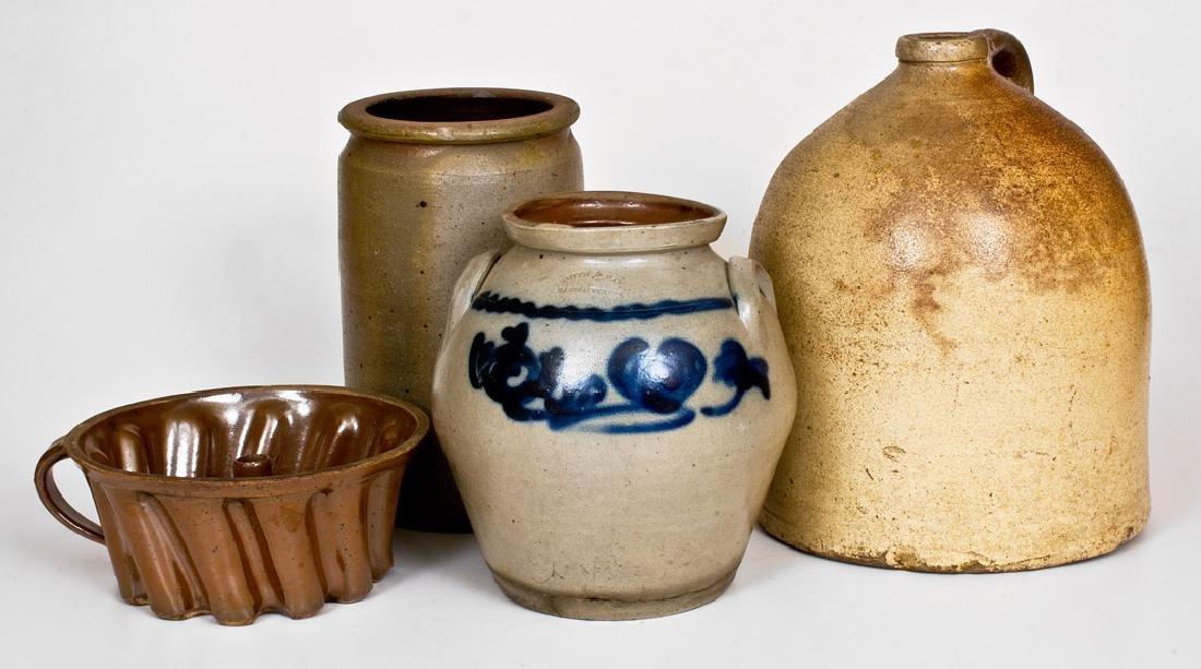 Lot of Four: SMITH & DAY / NORWALK, CT Jar w/ Stoneware