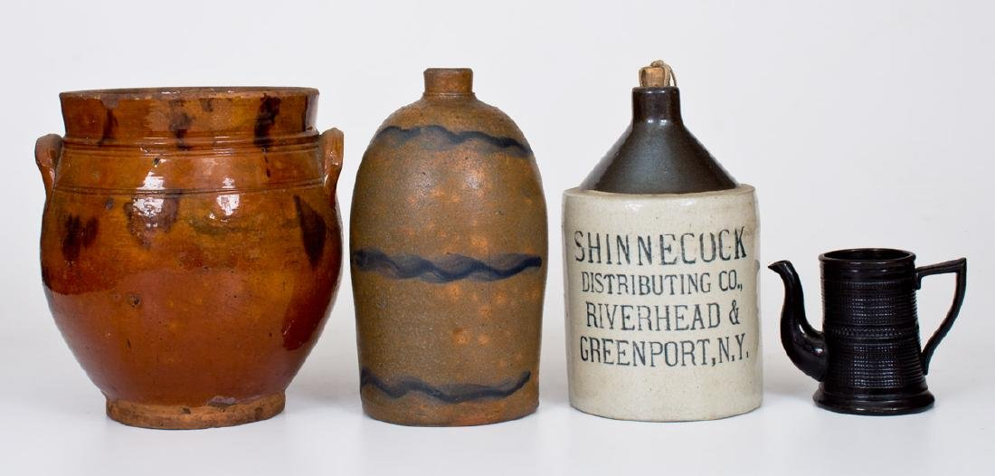 Lot of Four: Stoneware and Redware Articles
