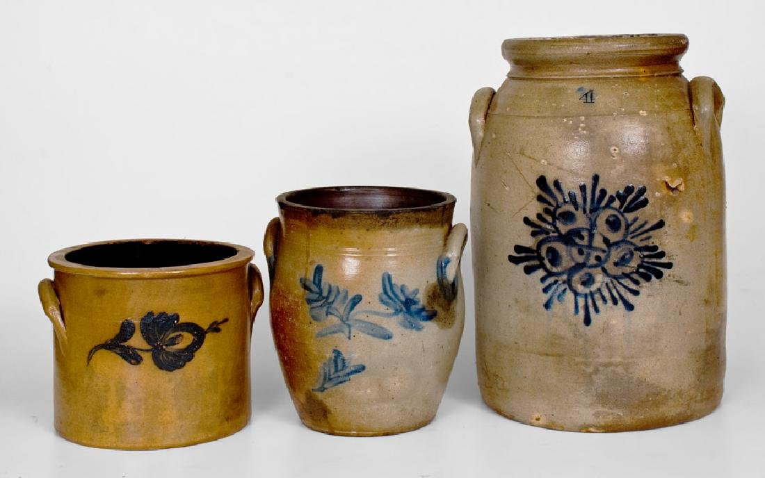 Lot of Three: Northeastern Stoneware Jars with Cobalt