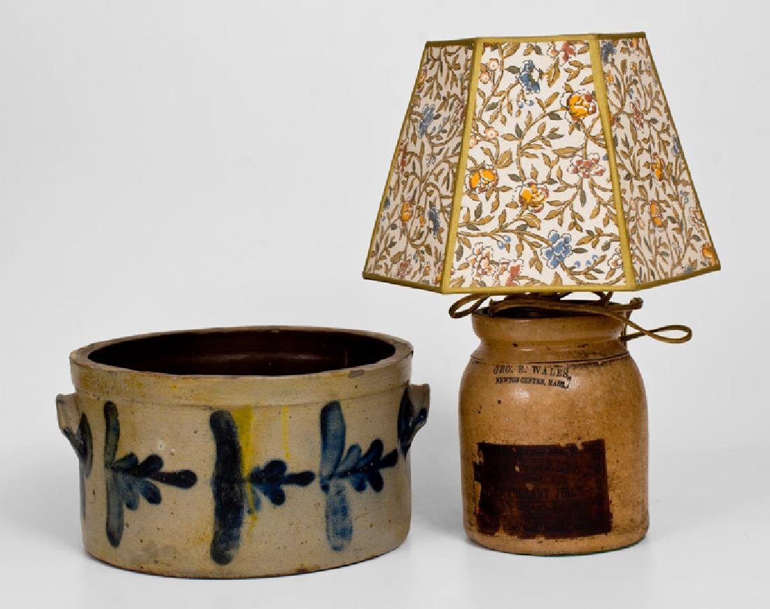 Two Pieces of Cobalt-Decorated Stoneware, American,