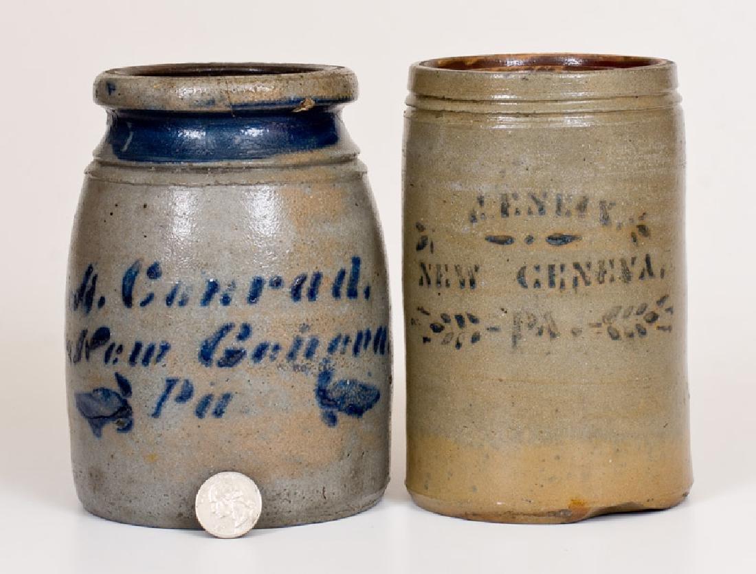 Two New Geneva, PA Cobalt-Decorated Stoneware Canning