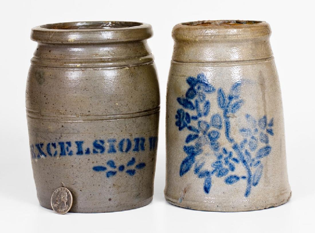 Two Cobalt-Decorated Stoneware Canning Jars, Western PA