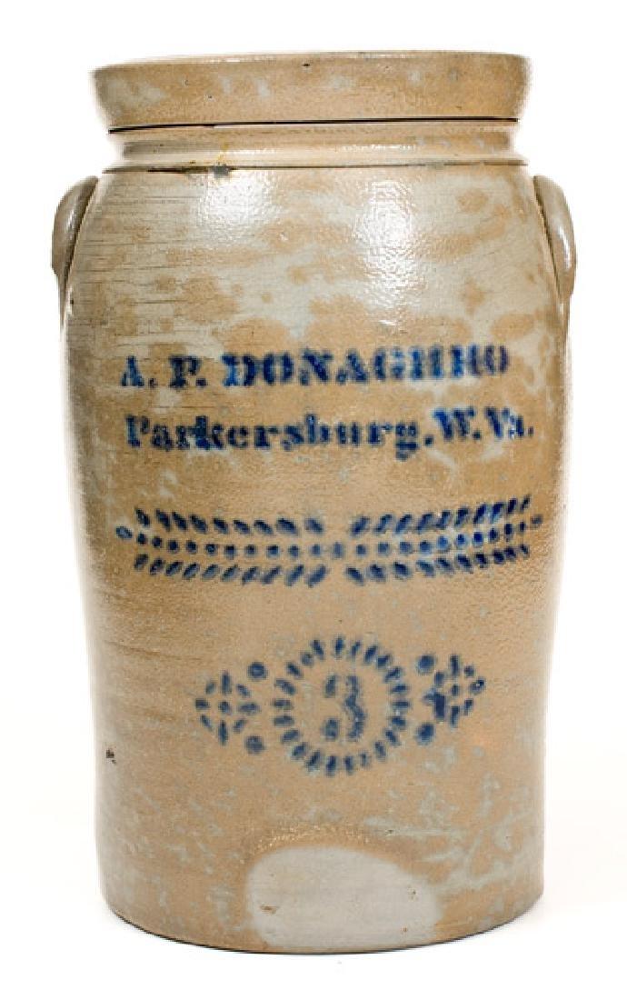 3 Gal. A. P. DONAGHHO / Parkersburg, W. VA Stoneware