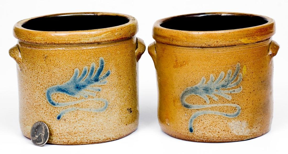 Fine Pair of Miniature Stoneware Crocks att. Nathan
