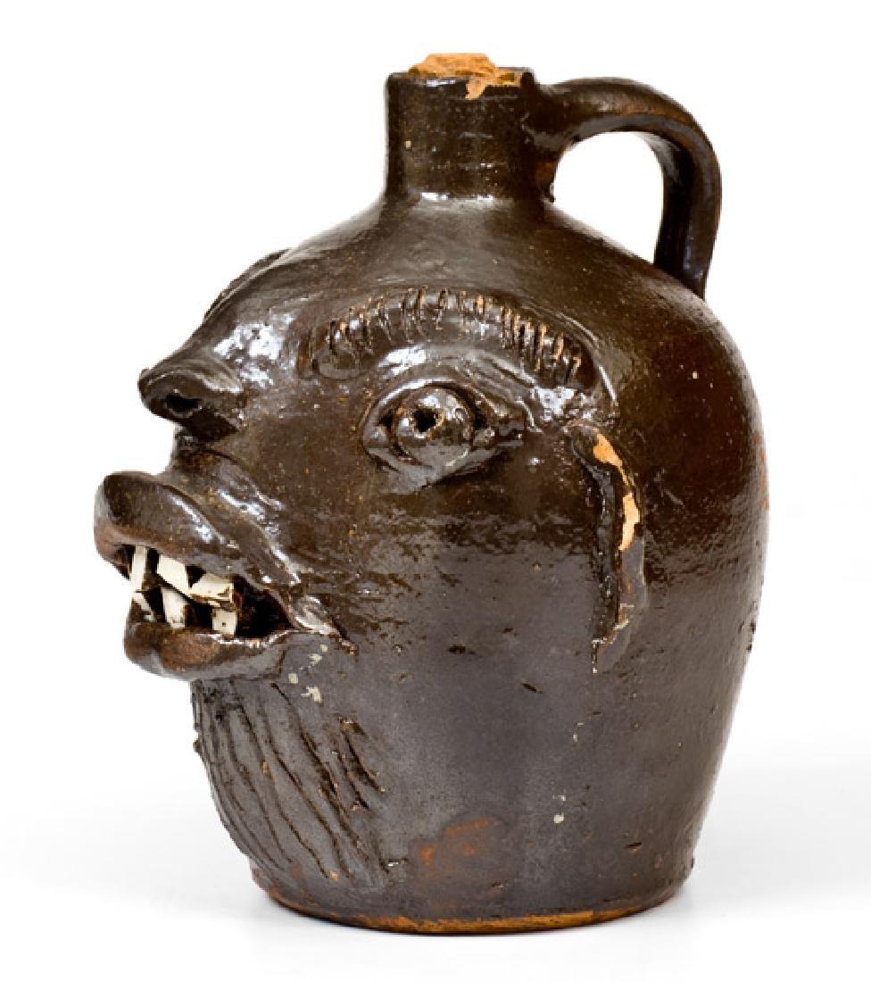 Rare Stoneware Face Jug att. Brown Pottery, Arden, NC, - 2