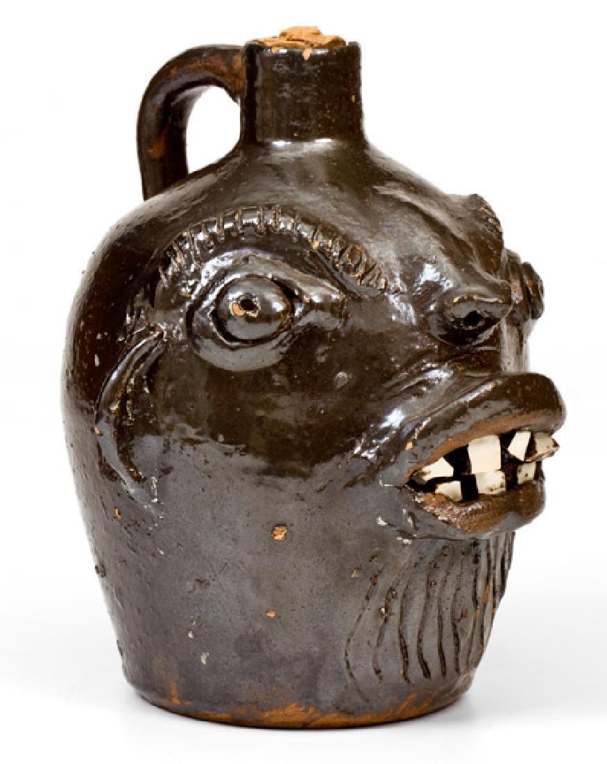 Rare Stoneware Face Jug att. Brown Pottery, Arden, NC, - 3