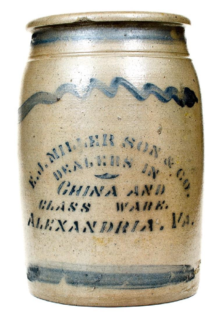1 Gal. Western PA Stoneware Jar with E. J. MILLER SON &
