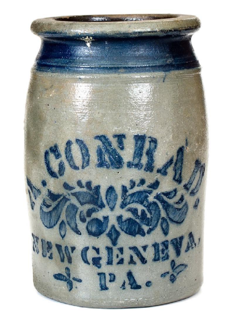 1/2 Gal. A. CONRAD / NEW GENEVA, PA Stoneware Jar with