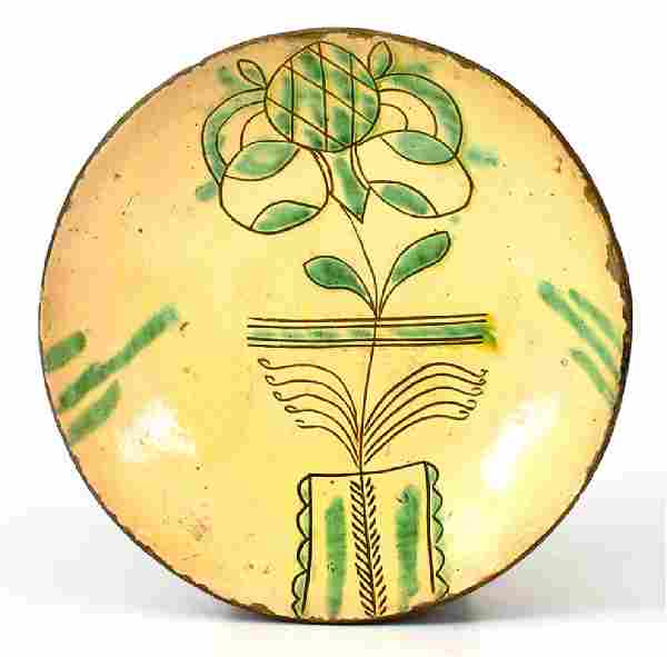 Very Fine PA Sgraffito Redware Plate w/ Flowering Urn,