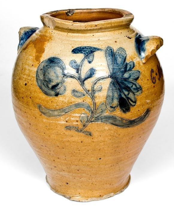 "Important Large-Sized Manhattan Area Stoneware Jar, ""C."