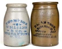 Lot of Two West Virginia Stoneware Advertising Jars