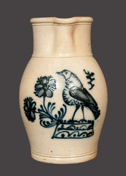 Reproduction Stoneware Pitcher with Detailed Geddes, NY