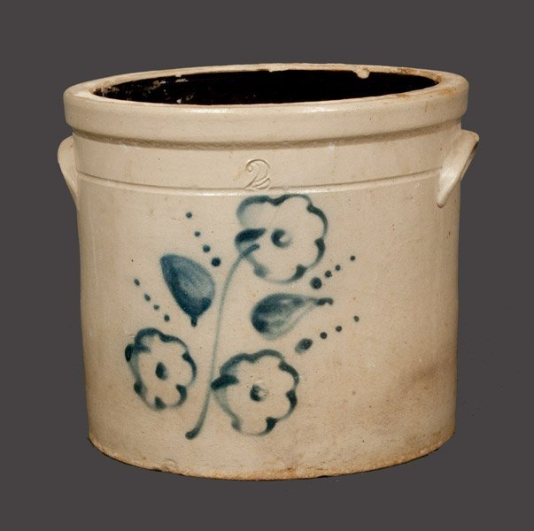 2 Gal. Stoneware Crock with Slip-Trailed Floral Decorat