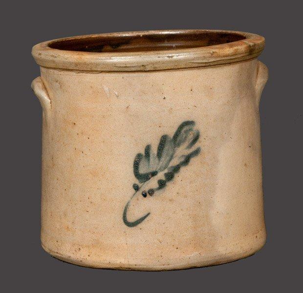 Stoneware Crock with Leaf Decoration, Northeastern U.S.