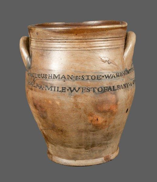 Very Rare PAUL CUSHMAN / 1809 Stoneware Crock with Two-