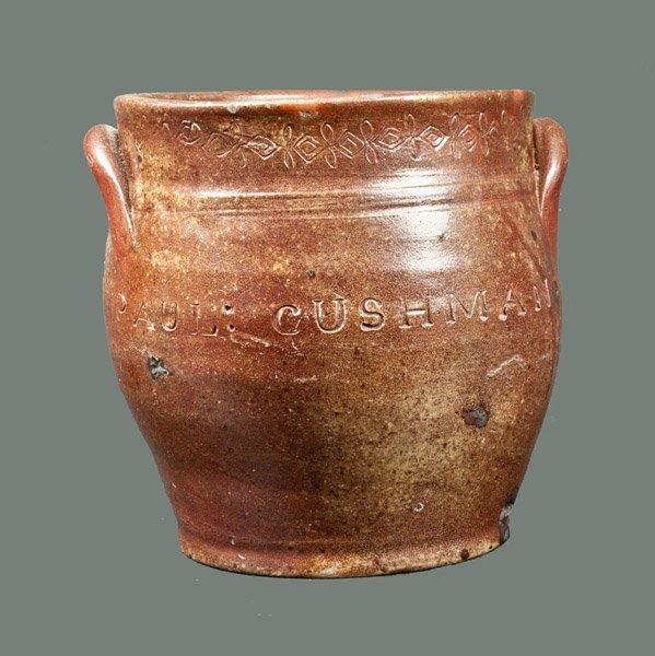 Squat PAUL CUSHMAN (Albany, NY) Stoneware Crock with Co
