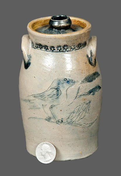 """Outstanding 5"""" Stoneware Churn with Incised Bird, Incis"""