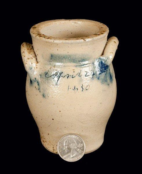 Miniature New York State Stoneware Crock Dated April 27