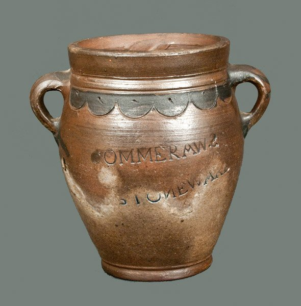 Very Rare COMMERAWS STONEWARE Crock with Vertical Handl